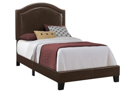 Monarch I5938BED Bed with Faux Leather Upholstery and Antique Brass Nailhead Trim in Brown