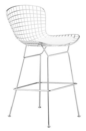 Fine Mod Imports FMI2126WHITE Wire Series Counter Height Leather Stainless Steel Frame Accent Chair