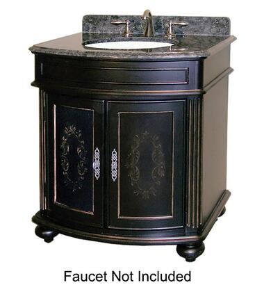 "Kaco Arlington Collection 5300-3000-1025 30"" Vanity with 2 Doors, Bun Feet and Decorative Moldings in Ebony Finish with X Top"