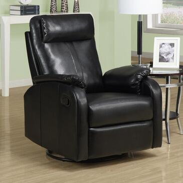 Monarch I8081BK Transitional Bonded Leather Wood Frame Rocking Recliners