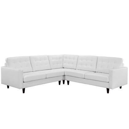 Modway EEI1549 Empress 3 Piece Leather Sectional Sofa Set