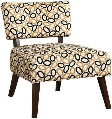 "Acme Furniture Able Collection 29"" Armless Accent Chair with Multi Color Oval Pattern, Wooden Tapered Legs and Polyester Upholstery in Espresso Finish"