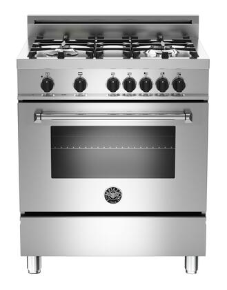 "Bertazzoni Master MAS304DFMXF 30"" Dual-Fuel Range XE With 3.6 cu. ft. Electric Convection Oven, 4 Aluminum Burners, 18000 BTUs Power Burner, 9 Cooking Functions & In Stainless Steel"