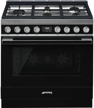 "Smeg CPF36UGMBL 36"" Dual Fuel Freestanding Range with Sealed Burner Cooktop, 4.5 cu. ft. Primary Oven Capacity, Storage in Black"