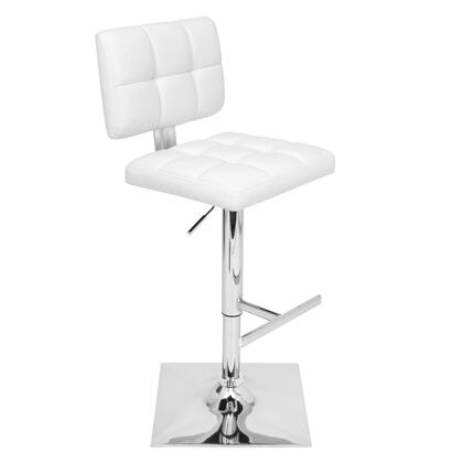 """LumiSource Glamour BS-TW-GLAM 35"""" - 44"""" Barstool with 360-Degree Swivel, Tufted Cushions and Footrest in"""
