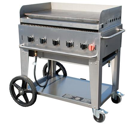 "Crown Verity CV-MG-36XX 44"" Wide Mobile Griddle with 79,500 BTU/H, 5 Burners, 34"" Cooking Surface, Pro Griddle Plate, Splash Guard and Removable Grease Tray in Stainless Steel"