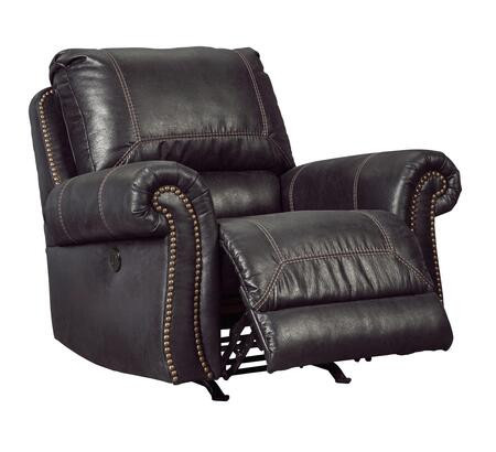 """Signature Design by Ashley Milhaven 633098 42"""" Power Rocker Recliner with Nail Head Trim, Rolled Arms, Jumbo Stitching, Split Back Cushion, PU Leather and Fabric Upholstery in"""
