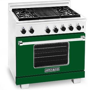 American Range ARR364GDFG Heritage Classic Series Natural Gas Freestanding Range with Sealed Burner Cooktop, 5.6 cu. ft. Primary Oven Capacity, in Green