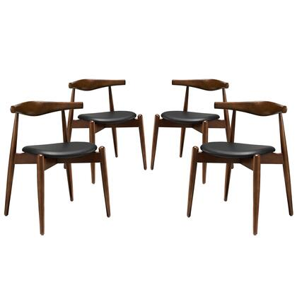 Modway EEI-1378 Stalwart Dining Side Chairs Set of 4 with Modern Design, Solid Beechwood Frame, Foam Cushion and Vinyl Upholstery