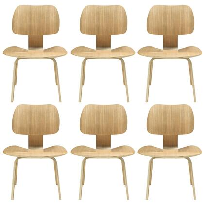 Modway EEI-910-XXX Fathom 6x Modern Dining Chairs with Five Layered Construction, Angled Seats, and Plywood with Oak Effect Veneer