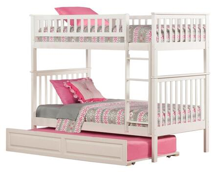 Atlantic Furniture AB5613 Woodland Bunk Bed Twin Over Twin With Raised Panel Trundle Bed