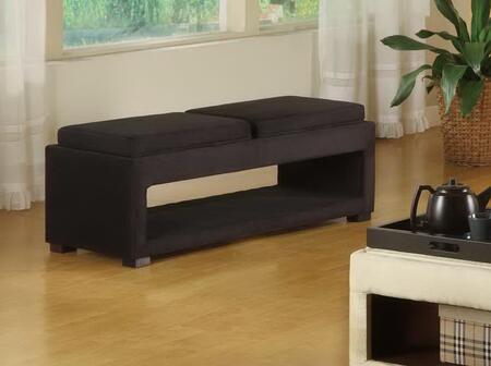 Armen Living LC6019BEMFBL Accent Armless Wood Microfiber Bench
