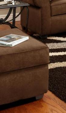 Chelsea Home Furniture 477070OFS  Flatsuede Chocolate Wood Frame Ottoman