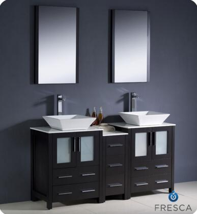 "Fresca Torino Collection FVN62-241224XX-VSL 60"" Modern Double Sink Bathroom Vanity with Side Cabinet, 7 Soft Closing Drawers and Vessel Sinks in"