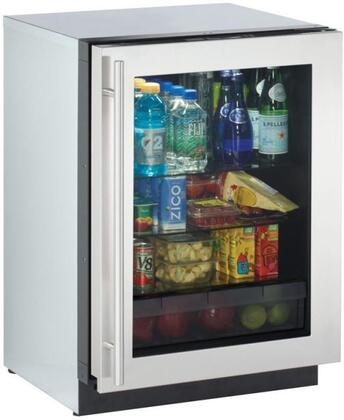 """U-Line 3024RGLS 24"""" Modular 3000 Series Star K Compact Refrigerator with 4.9 cu. ft. Capacity, X Hinge, Convection Cooling, Interior Light and OLED Display, in Stainless Steel"""