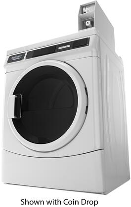 """Maytag Commercial MDX28PDCWW 27"""" Commercial Front Load Dryer with 6.7 cu. ft. Capacity, Turbovent Dryer Technology, Microprocessor Controls, and Porcelain-Enamel Top: White"""
