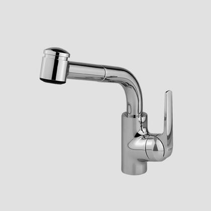 Picture of 10.061.002.127 Single-hole single side-lever kitchen mixer with high swivel spout and pull-out spray in Splendure Stainless