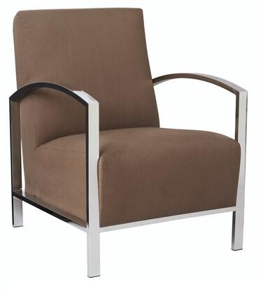 Allan Copley Designs 61202 Theresa Lounge Chair with Polished Stainless Steel Frame, Curved ARMS, Fabric Seat and Back in