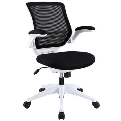 Modway EEI-596 Edge White Base Office Chair with Sponge Seat Covered in Fabric, Seat Tilt with Tension Control, Adjustable Seat Height, Padded Flip-up Arms, White Nylon Frame and Base, in