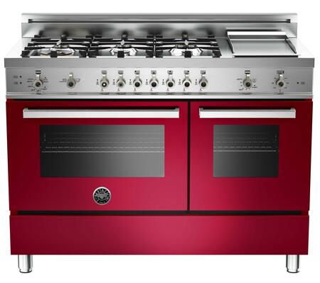 "Bertazzoni PRO486GGASVILP 48"" Professional Series Gas Freestanding Range with Sealed Burner Cooktop, 3.6 cu. ft. Primary Oven Capacity, Storage in Burgundy"