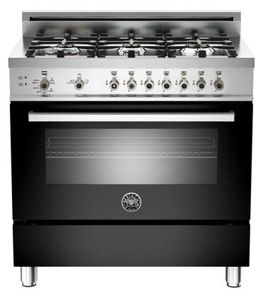 "Bertazzoni PRO366GASNE 36"" Professional Series Gas Freestanding Range with Sealed Burner Cooktop, 4.4 cu. ft. Primary Oven Capacity, Storage in Black"