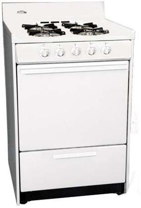 "Summit WLM6107F 24"" Gas Freestanding Range with Open Burner Cooktop, 2.92 cu. ft. Primary Oven Capacity, Broiler in White"