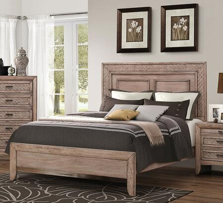 Acme Furniture Ireton Collection Size Bed with Low Profile Footboard, Side Rails, Medium-Density Fiberboard (MDF) and Okume Veneer Frame in Caramel Finish