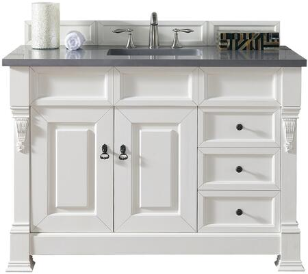 "James Martin Brookfield Collection 147-114-5246- 48"" Cottage White Single Vanity with Two Soft Closing Doors, Three Soft Closing Drawers, Backsplash, Hand Carved Filigrees and"