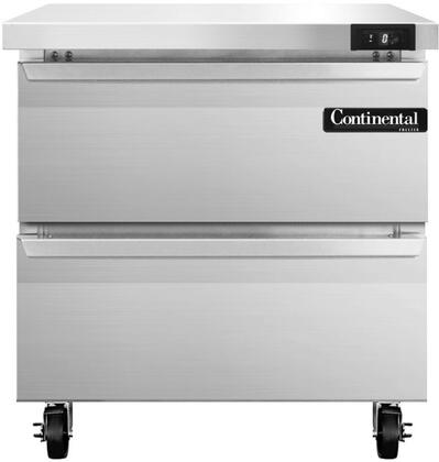 "Continental Refrigerator SWF3 32"" Worktop Freezer with 9 Cu. Ft. Capacity, Stainless Steel Exterior and Interior, 5"" Casters, Interior Hanging Thermometer, and Environmentally-Safe Refrigerant, in Stainless Steel"
