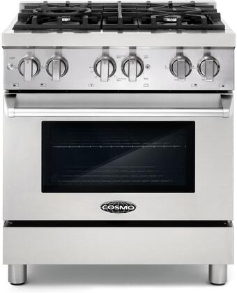 Cosmo COS-DFR Pro-Style Dual Fuel Range with Sealed Burners, Electronic Ignition, Cast Iron Grates, Triple Layer Oven Glass and Dual Oven Lights, in Stainless Steel