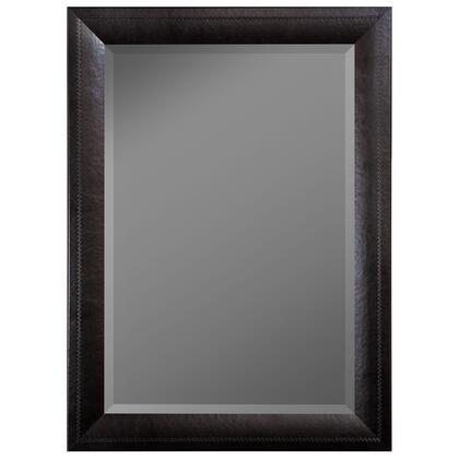 Hitchcock Butterfield 68300X Reflections Saddle Stiched Balck Leather Framed Wall Mirror