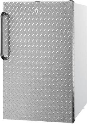 """AccuCold FS407L7xDPLx 20"""" Upright Freezer with 2.8 cu. ft. Capacity, 4 Pull-Out Storage Drawers, Reversible Door, Factory Installed Lock and Manual Defrost, in Diamond Plate Finish"""
