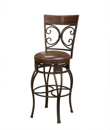 "American Heritage Treviso Series 1XX849PP-L32 Traditional Stool With Uniweld Metal Construction, Full Bearing Swivel, 3"" Cushion, and Adjustable Floor Glides FInished in Pepper with Bourbon Leather"