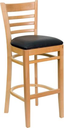 """Flash Furniture HERCULES Series XU-DGW0005BARLAD-NAT-XXV-GG 31"""" Heavy Duty Natural Wood Finished Ladder Back Wooden Restaurant Bar Stool with Vinyl Seat, Commercial Design and Plastic Floor Glides"""
