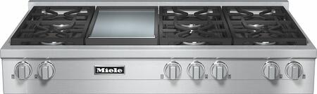 Miele KMR135 Rangetop with X Sealed M Pro Dual Stacked Burners, TrueSimmer Function, Dishwasher-Safe Grates, Automatic Re-Ignition, Clean Touch Steel Front, and Backlit Knobs in Stainless Steel