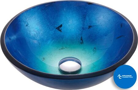 "Kraus GV204X Multicolor Series 17"" Irruption Blue Round Vessel Sink with 12-mm Tempered Glass Construction, Easy-to-Clean Polished Surface, and Included Pop-Up Drain with Mounting Ring"