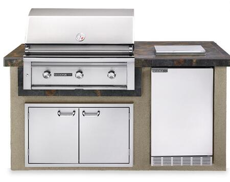 Lynx L1600 Sedona Deluxe Island Package Includes Sedona Grill, Sedona Outdoor-Rated Refrigerator, Single Side Burner and Double Doors