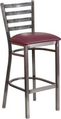 Flash Furniture XU-DG697BLAD-CLR-BAR-BXX-GG HERCULES Series Clear Coated Ladder Back Metal Restaurant Barstool - Vinyl Seat