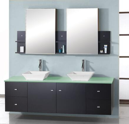 "Virtu USA Clarissa 61"" MD-435-x-ES Double Sink Bathroom Vanity in Espresso Finish with x Countertop, Medicine Cabinet Mirrors, Faucets, 2 Doors, 4 Drawers and Brushed Nickel Hardware"