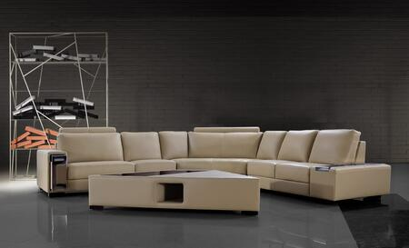 VIG Furniture VG2T0646- Tera Collection Beige Leather Sectional Sofa with Coffee Table
