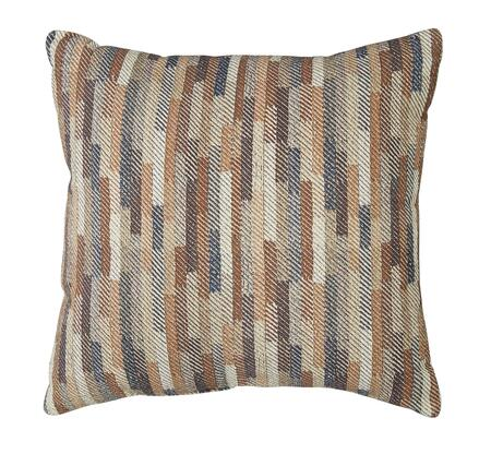 "Signature Design by Ashley Daru Collection A1000255X 20"" x 20"" Pillow with Staggered Stripe Design, Fiber Filler and Cotton Cover in Cream, Brown and Blue"