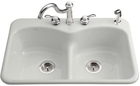 Kohler K-6626-4- Double Basin Smart Divide Cast Iron Kitchen Sink from the Langlade Series: