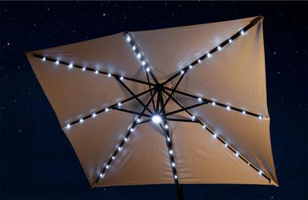 Santorini II Fiesta Cantilever Umbrella with LED Lights Fully on in the Center and on Ribs