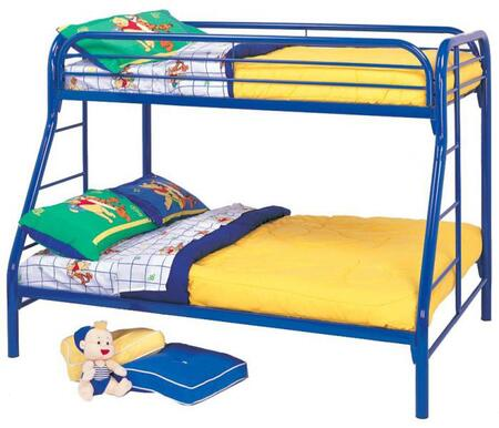 Coaster Fordham Twin Over Full Bunk Bed with Built-In Ladders, Full Length Guard Rails and Two Inch Metal Tubing Construction in