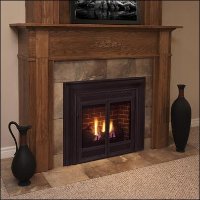 "Picture of 300DVBNSC7 33"" Direct Vent Convertible Natural Gas Fireplace with Flex Vent Signature Command Control Ceramic Fiber Logs Large Ember Bed and Alumi"