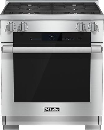 "Miele HR1924D 30"" Pro-Style Dual Fuel Range with 4.6 cu. ft., 4 Sealed M Pro Dual Stacked Burners, TwinPower Convection Fan Oven, Self-Clean, 21 Operating Modes, and Wireless Roast Probe in Stainless Steel"