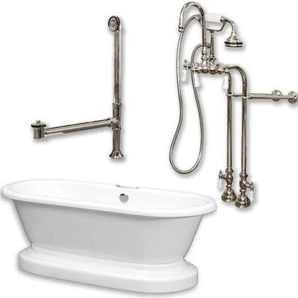 "Cambridge ADEP398684PKGXXNH Acrylic Double Ended Pedestal Bathtub 70"" x 30"" with no Faucet Drillings and Complete Plumbing Package"