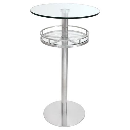"""LumiSource Cora BT-CORA 24"""" Bar Table with Tempered Glass Top, Shelf and Chrome Base in"""