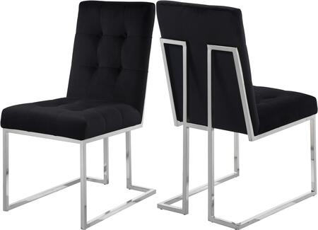 Meridian Alexis Collection 731C-X Dining Chair with Velvet, Tufted Upholstery and Silver Plated Stainless Steel Base