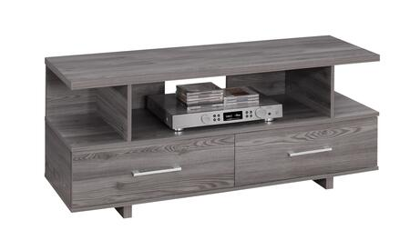 """Monarch I260X2 48"""" TV Stand with 3 Open Shelves, Silver Handles and 2 Drawers in"""